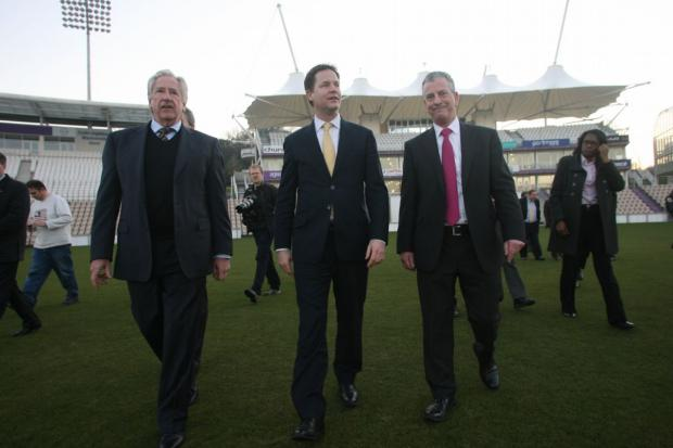 Nick Clegg with by-election candidate Mike Thornton, right, and Ageas Bowl chairman Rod Bransgrove, left, at the ground