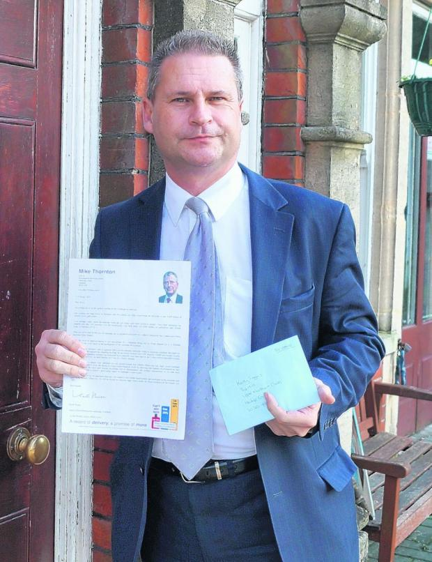 Cllr House with his letter