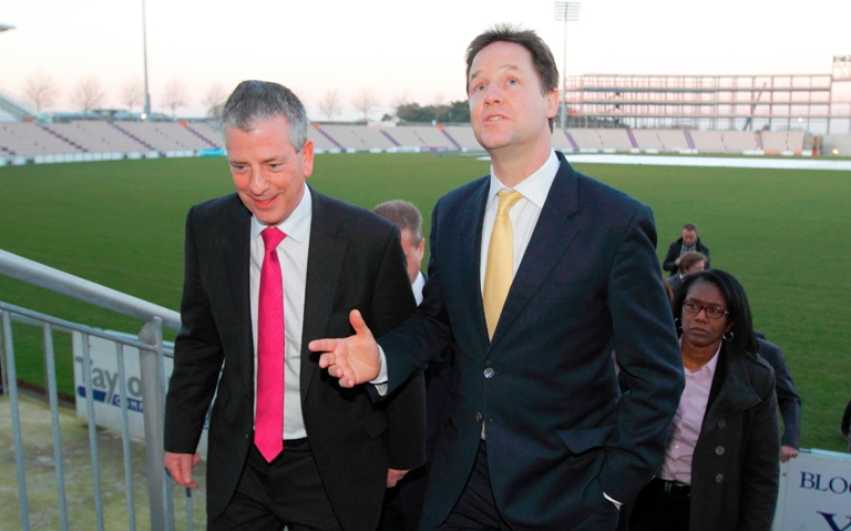 Mike Thornton with party leader Nick Clegg at the Ageas Bowl