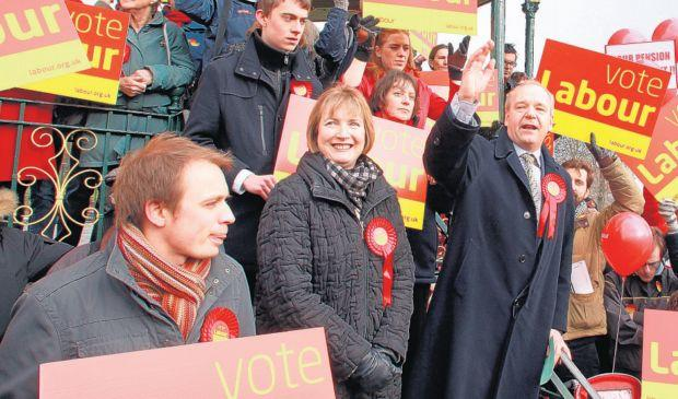 Harriet Harman on the campaign trail with Labour candidate John O'Farrell.
