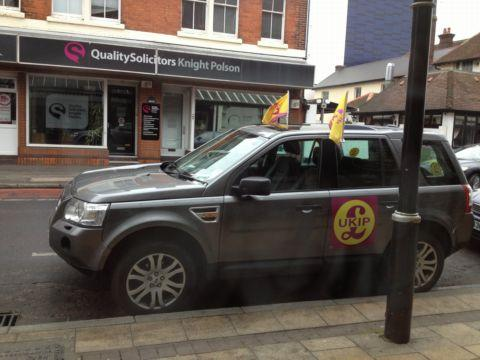 Daily Echo: UKIP chairman Steve Crowther's Land Rover which was given a parking ticket in Eastleigh today