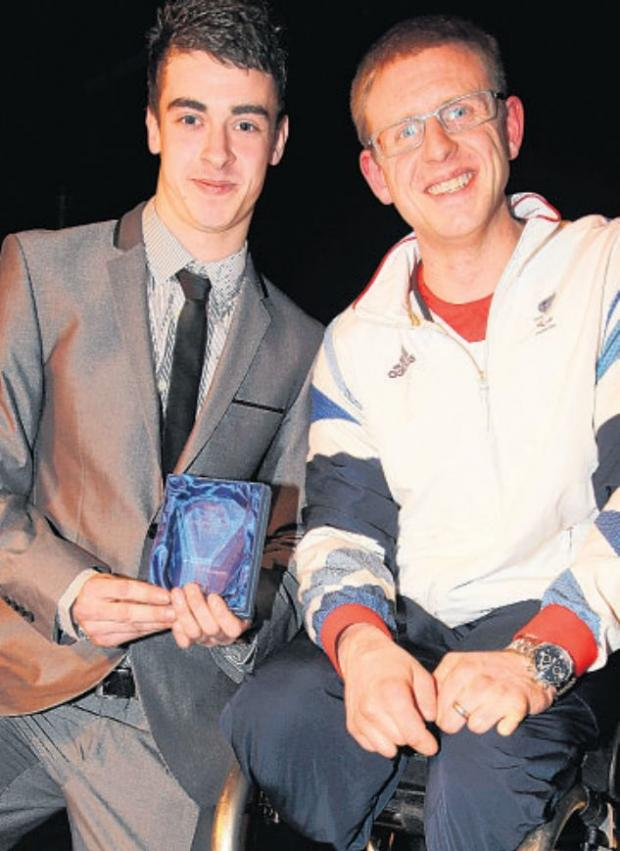 Student of the Year and Governors' Prize winner Steven Burge with Aaron Phipps.