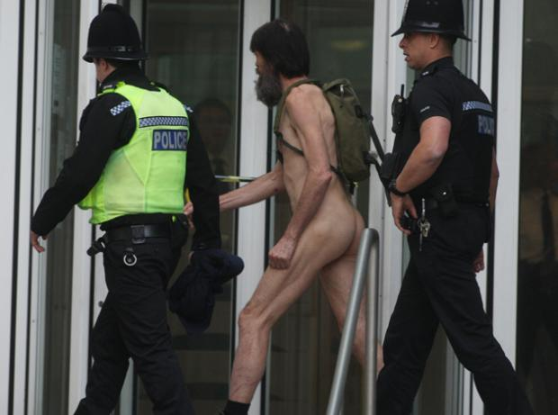 Stephen Gough, the Naked Rambler, being arrested in Southampton yesterday
