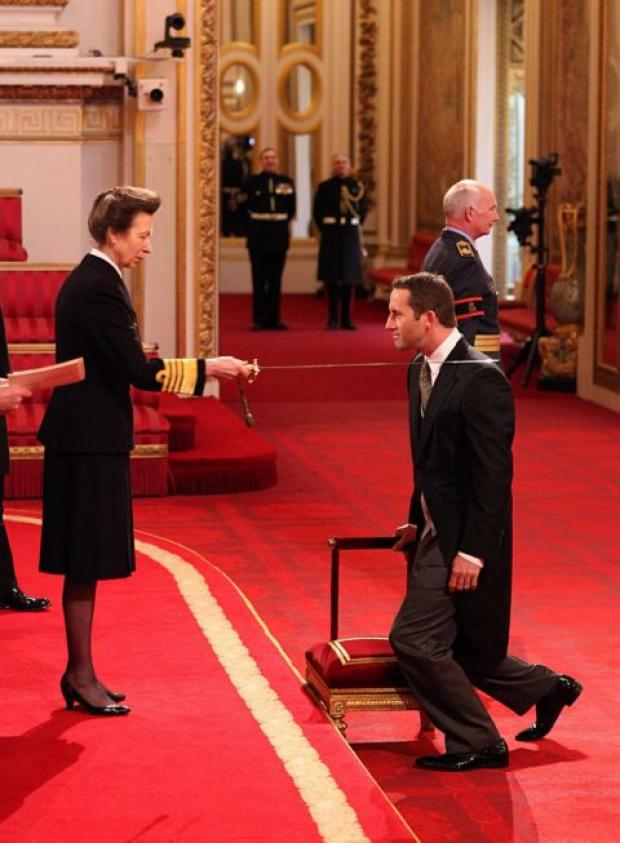 Sir Ben Ainslie is knighted by Princess Anne