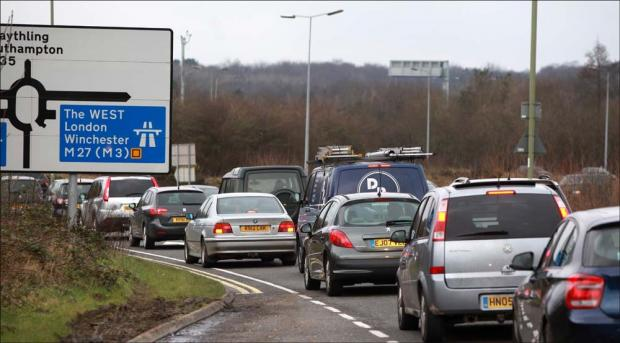 Traffic queues approaching the M27 at Eastleigh.