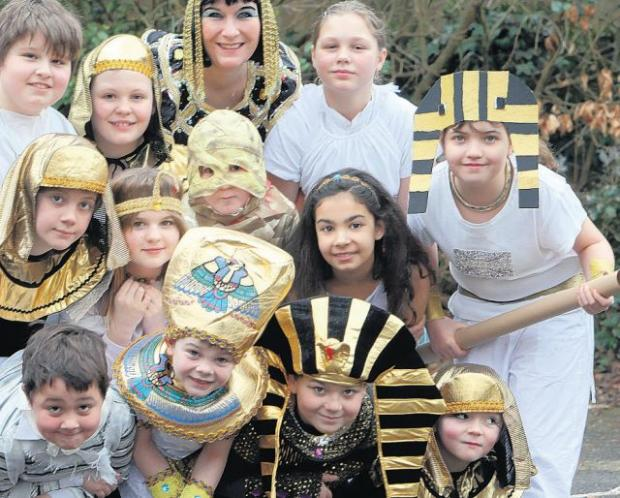 PHAROAH FUN: Pupils with their teacher Dee Griffiths