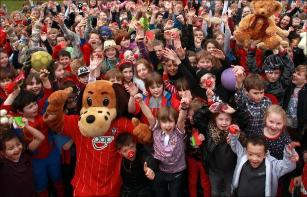 Children from Bartley Junior School get in the red nose spirit.