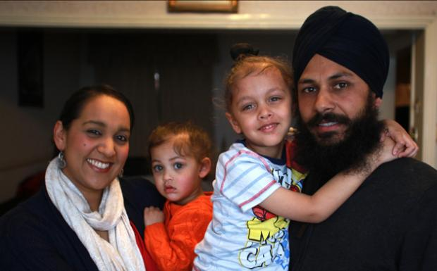 Pushwinder Kaur and Baljinder Singh with children Amrit Kaur and Yuvraj Singh.