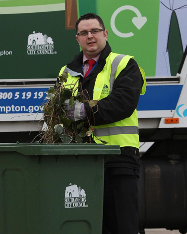 Cllr Asa Thorpe –  pictured launching the new bin for garden waste – says bins containing unacceptable materials will not be emptied.