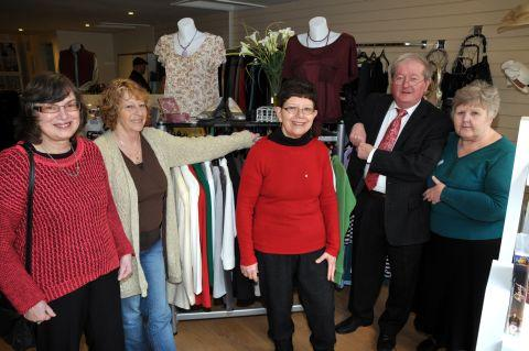 Volunteers June Neighbour, Lizzie Jupp and Chantal Brown with Cllr Sean Keating and shop manager Jenny Filkins