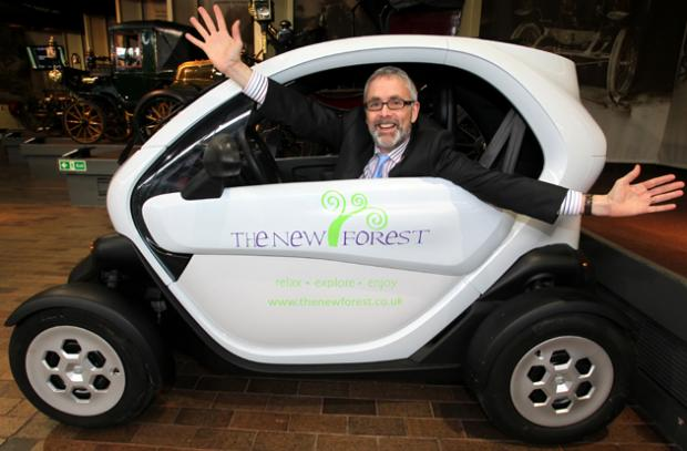 Chief executive of Visit England, James Beresford, launches the electric car hire scheme.
