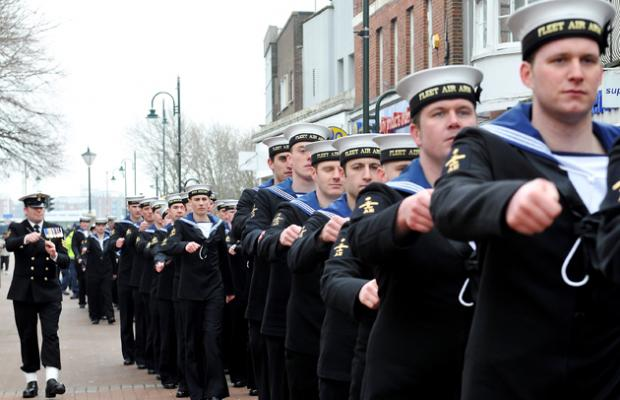 Hundreds cheer as sailors are given freedom of the town