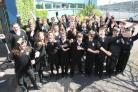 Pupils and head teacher Ewan Scott celebrate Chamberlayne College of the Arts' Ofsted success.