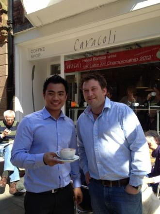 Dhan, left, with one of the owners of Caracoli, James Nichols