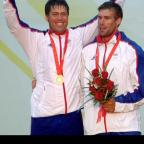 Andrew Simpson (left) and Southampton's Iain Percy pictured winning gold at the 2008 Beijing Olympics