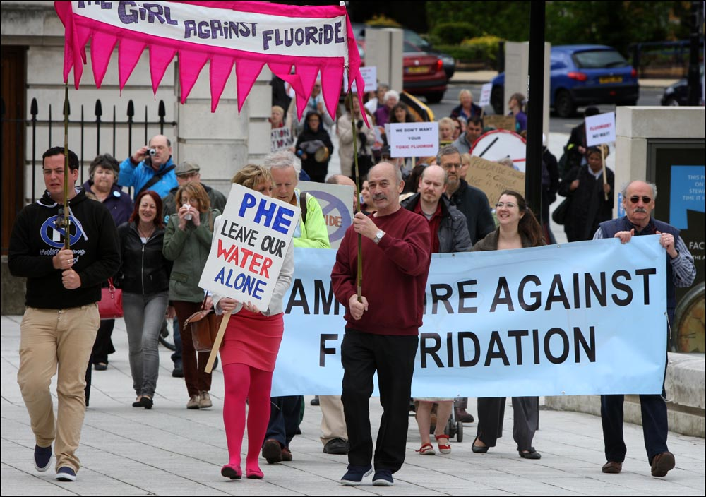 Protestors against fluoridation in Southampton today.