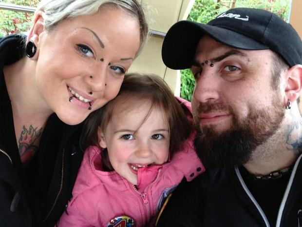 Daily Echo: Lucy Simms and Gary Willoughby with daughter Octavia.