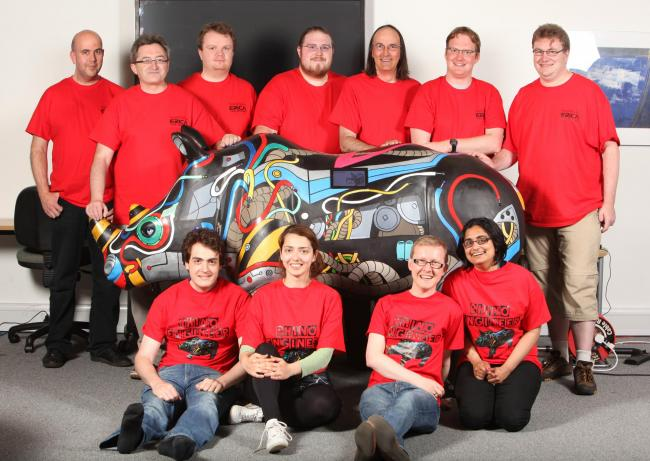 TECH TEAM: The University of Southampton team, who have designed Erica for the Go! Rhinos project.
