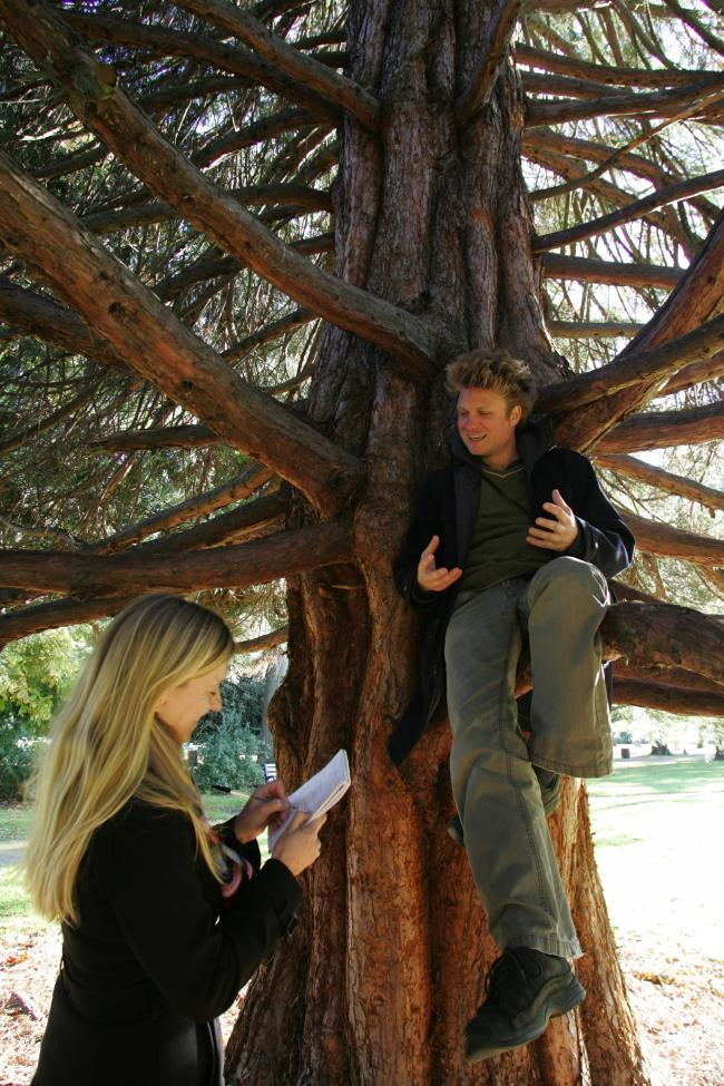 Henrik being interviewed by the Echo's Sally Churchward in East Park, Southampton, in 2010