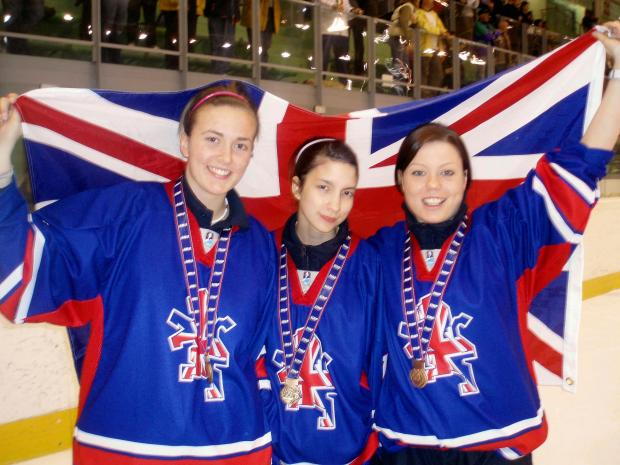 Daily Echo: Natalie Aldridge (centre) with GB team-mates Leanne Ganney and Chrissy Newman.