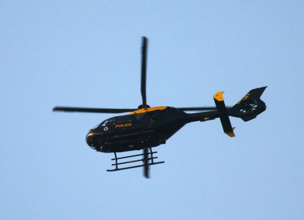 Police helicopter in hunt for dangerous driver