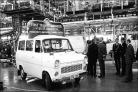 The first Ford Transit rolling off the production line in Southampton.