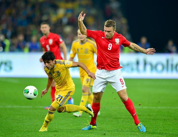 Rickie Lambert in action against Ukraine