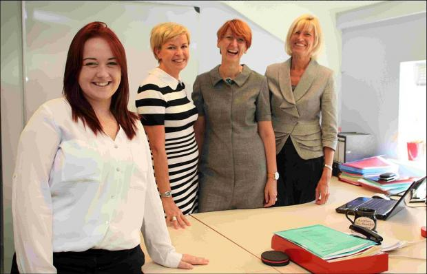 Jodie Stringer at her new workplace at Emphasis UK in Romsey with colleagues,  operations director Becky Boston, managing director Jane Michel and HR consultant Nicky Whitcomb