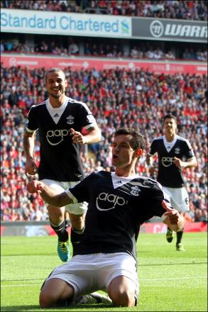 Dejan Lovren celebrates scoring against Liverpool, at Anfield, last season