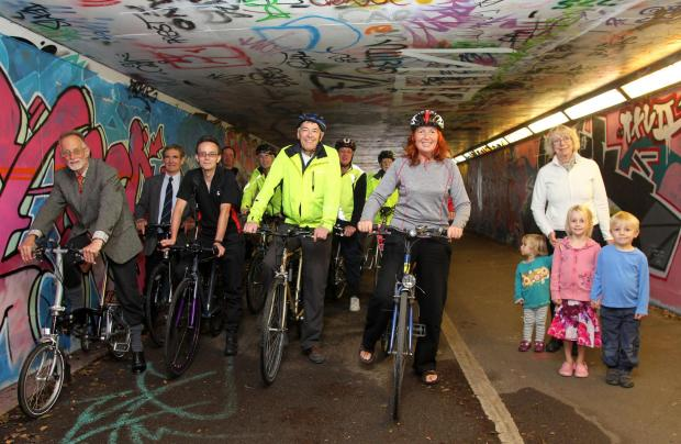 Members of Southampton Cycling Campaign gather to protest about proposals to narrow the underpass beneath The Avenue.