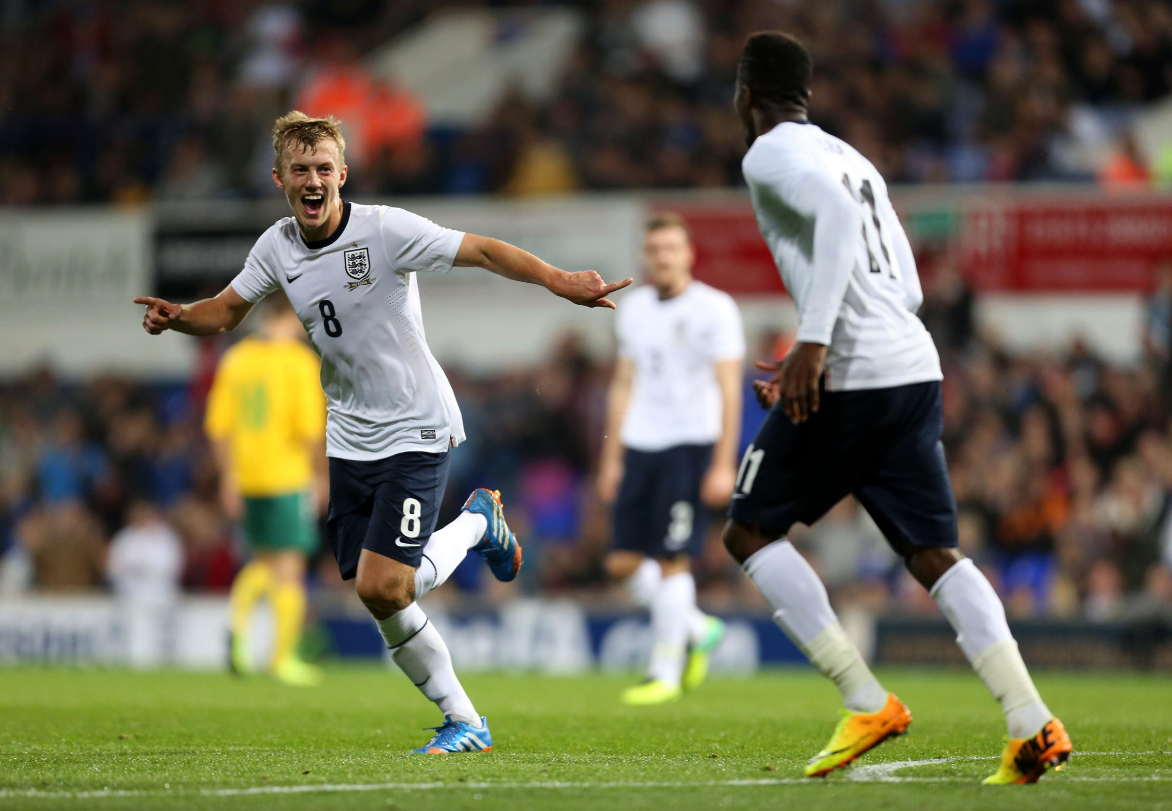 James Ward-Prowse celebrates scoring for England U21s last year