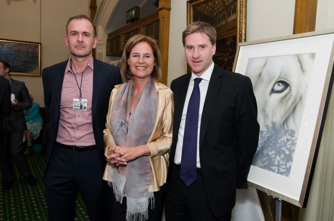 From left - Remarkable Group CEO Stephen Pomeroy, founder of the Global White Lion Protection Trust Linda Tucker and Winchester MP Steve Brine.