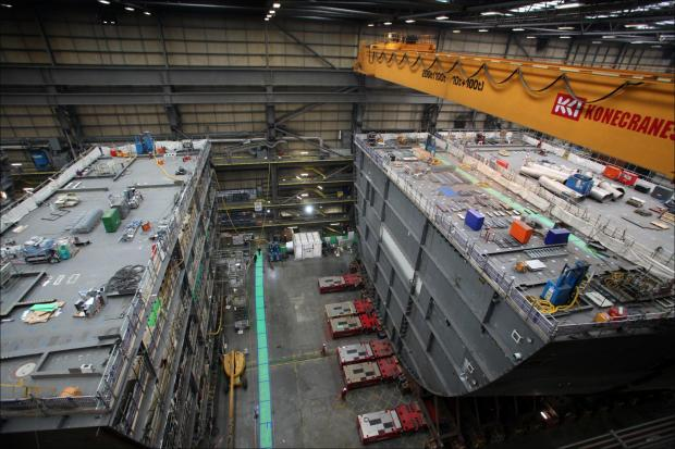 Construction of the new aircraft carriers for the Royal Navy at BAE in Portsmouth