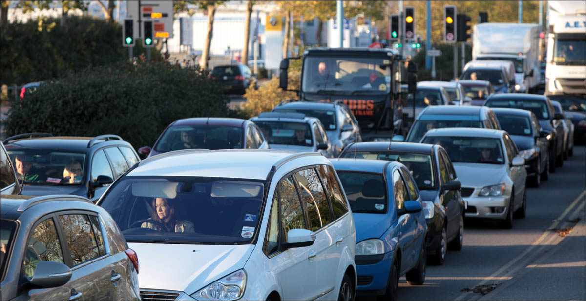 Heavy traffic jams along West Quay Road during previous city centre congestion