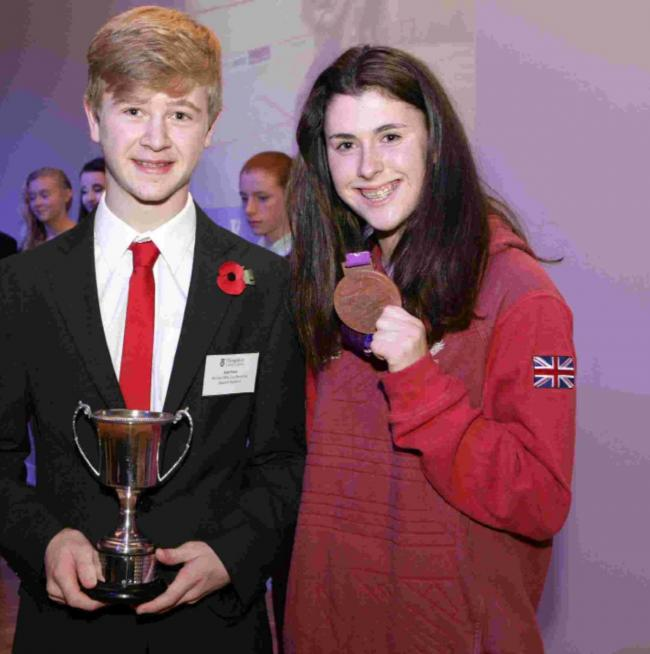 Kyle Finch with 2012 London Paralympian medallist Olivia Breen at the recent Hampshire School Sports Awards.