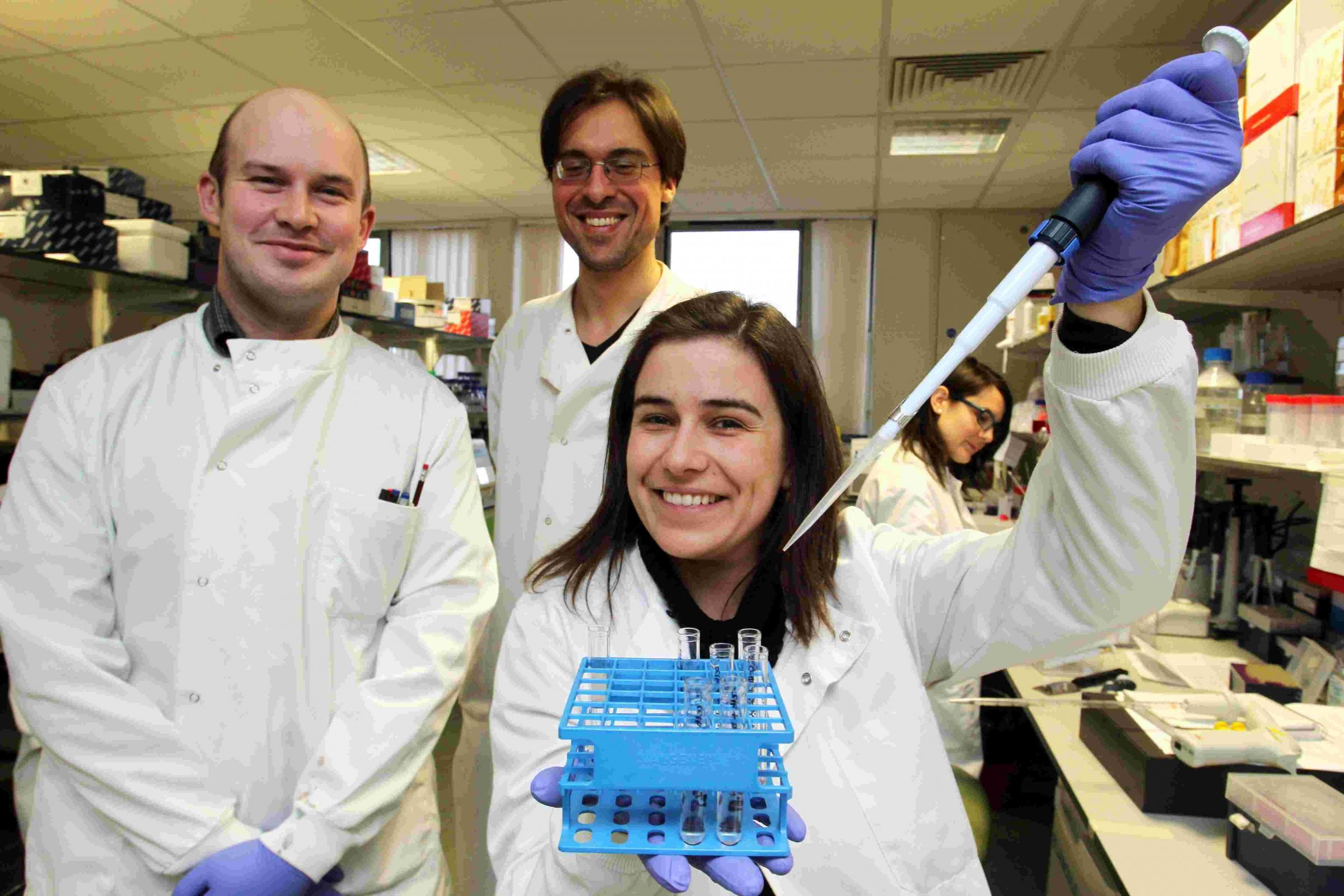 Post doctoral researchers in tumour biology, left to right, Adam Linley, Manos Papadakis and Vania Coelho.