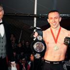 Daily Echo: Richard Buskin after winning the lightweight UFW champion belt