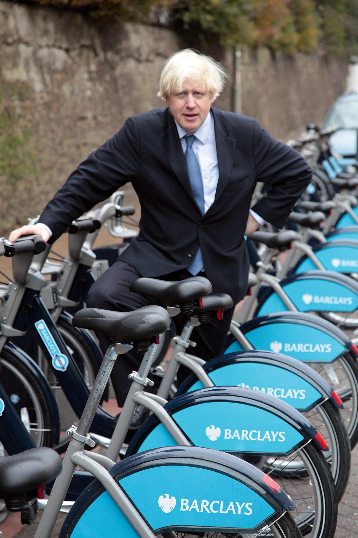 Boris Johnson with some of the bikes from the London scheme
