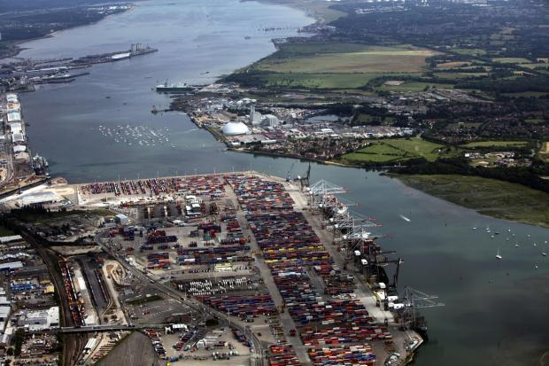 Southampton Docks, left, and Dibden Bay, right