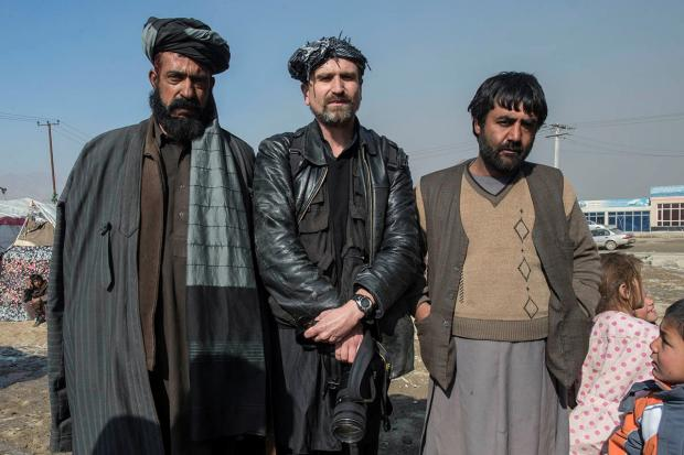 Guy Smallman, centre, in Afghanistan