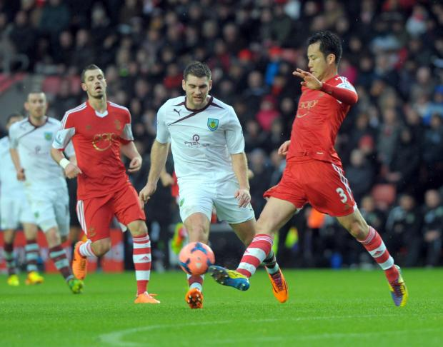 Maya Yoshida and Burnley's Sam Vokes at St Mary's