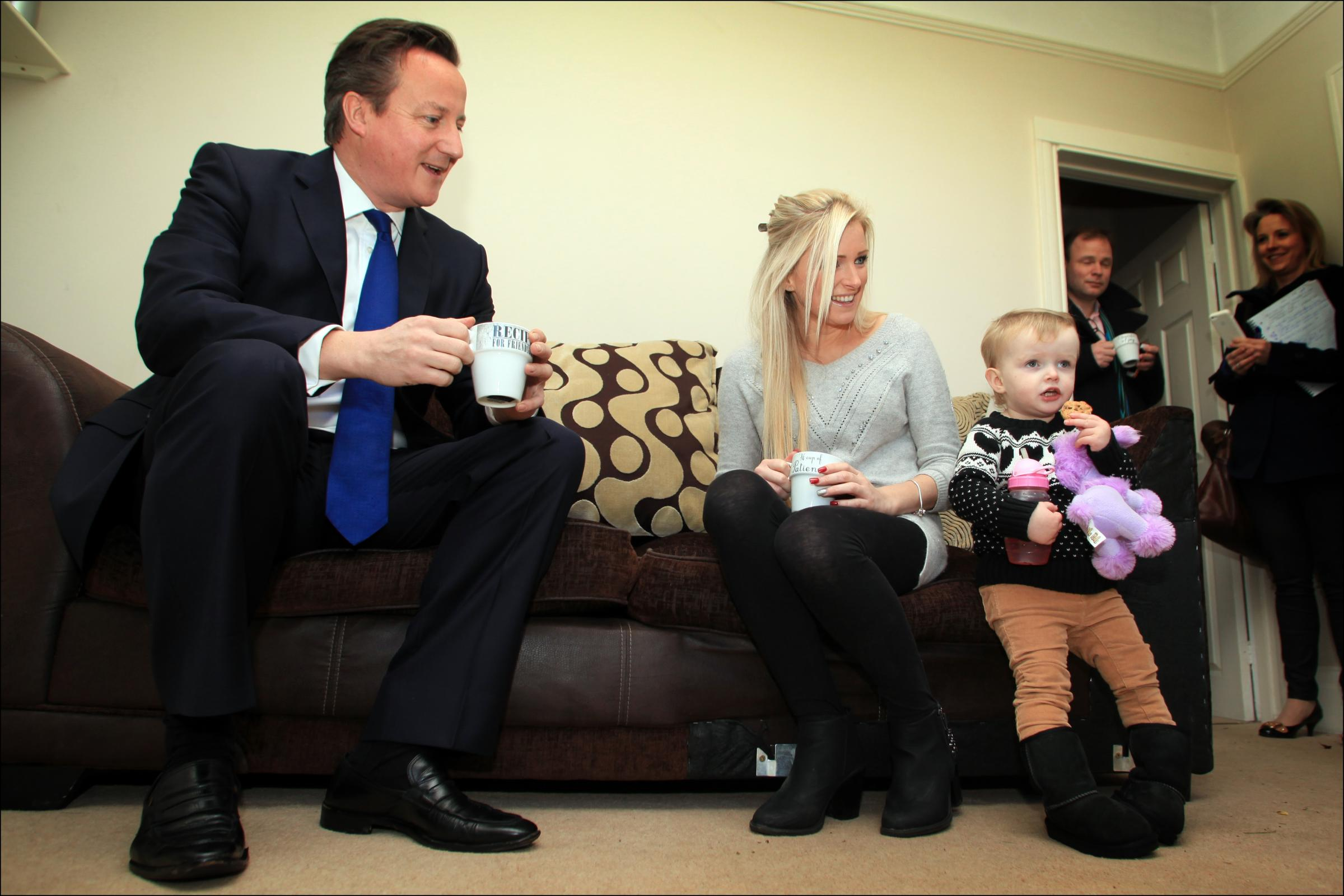 Prime Minister David Cameron's visit to Sharon Ray and her daughter Maisie
