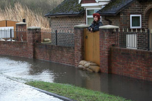 Tracy Matthews fighting the floods in Titchfield