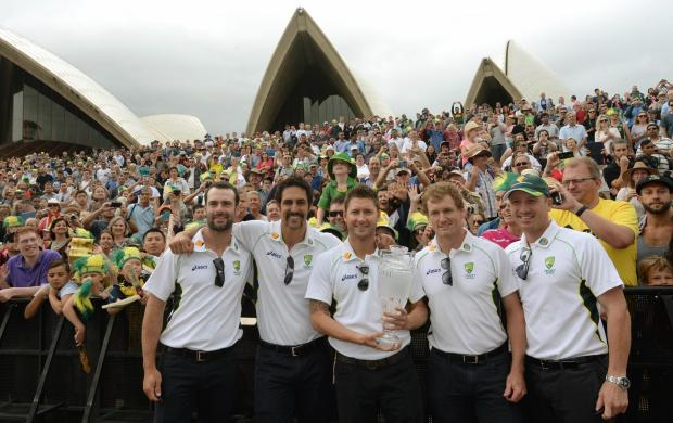 Australia's Alex Doolan, Mitchell Johnson, Michael Clarke, George Bailey and Brad Haddin pose during the photocall at the Sydney Opera House