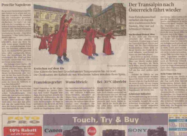AN ICE SURPRISE: The Swiss newspaper showing the picture of Winchester's skating choirboys.