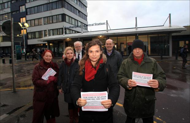 Labour politician Rowenna Davis leads a protest at Southampton Central railway station against rail fare increases.