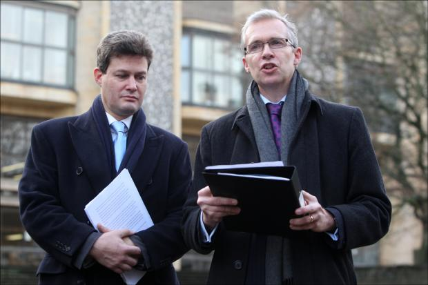 Daily Echo: Adam Feest and James Newton-Price read a statement outside court.