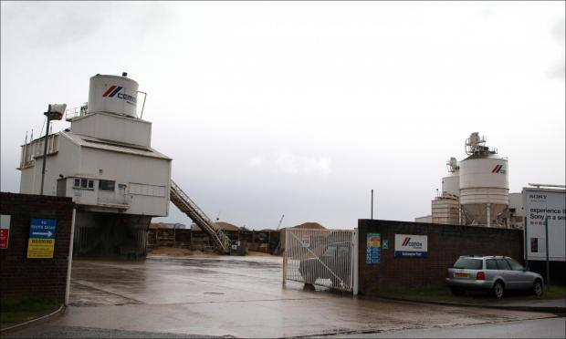 The Cemex plant in Belvidere Road, Southampton, opposite St Mary's Stadium