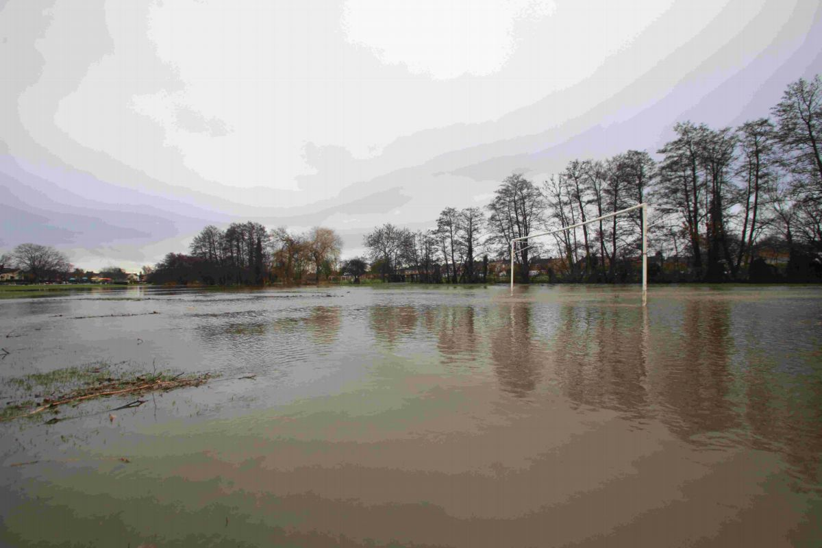 Flooded football pitches at Fleming Park, Eastleigh