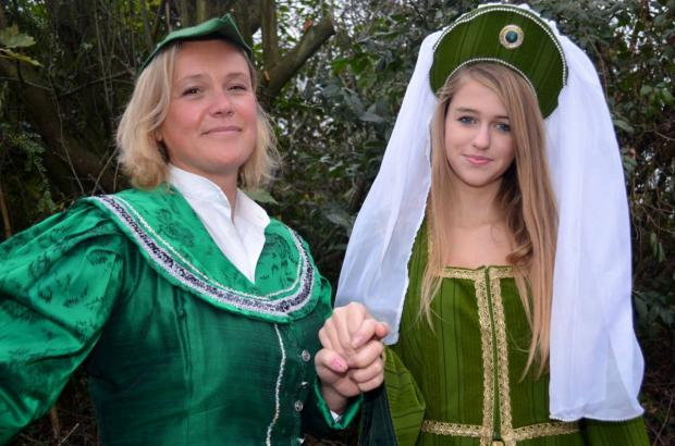 Emma Portlock as Robin Hood with Gemma Asher as Maid Marion.
